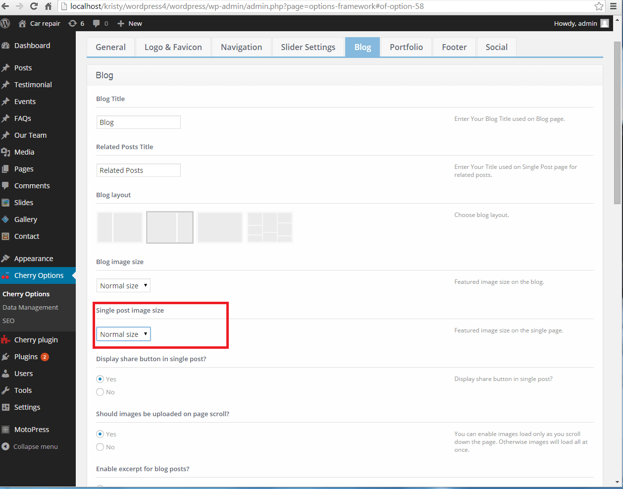 WordPress Cherry 3.x. How to change image dimensions on