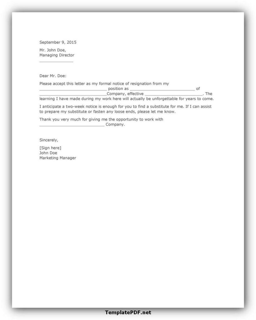 Two weeks notice Template 03