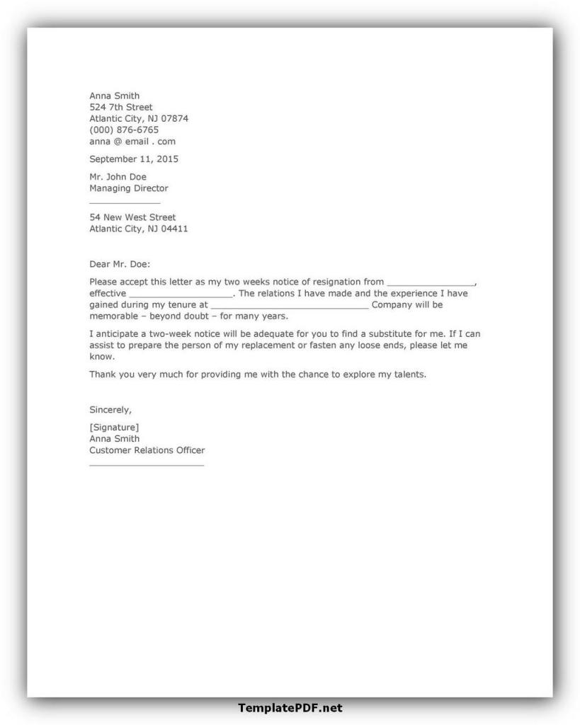 Two weeks notice Template 05