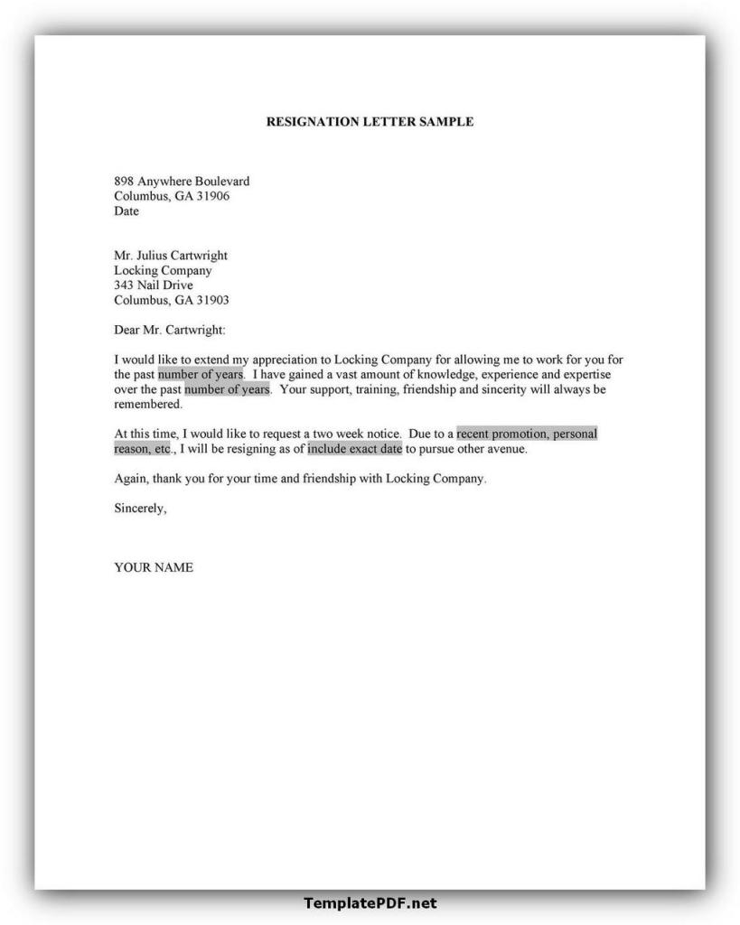 Two weeks notice Template 11