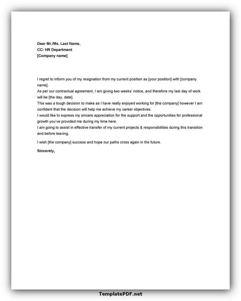 Two weeks notice Template 19