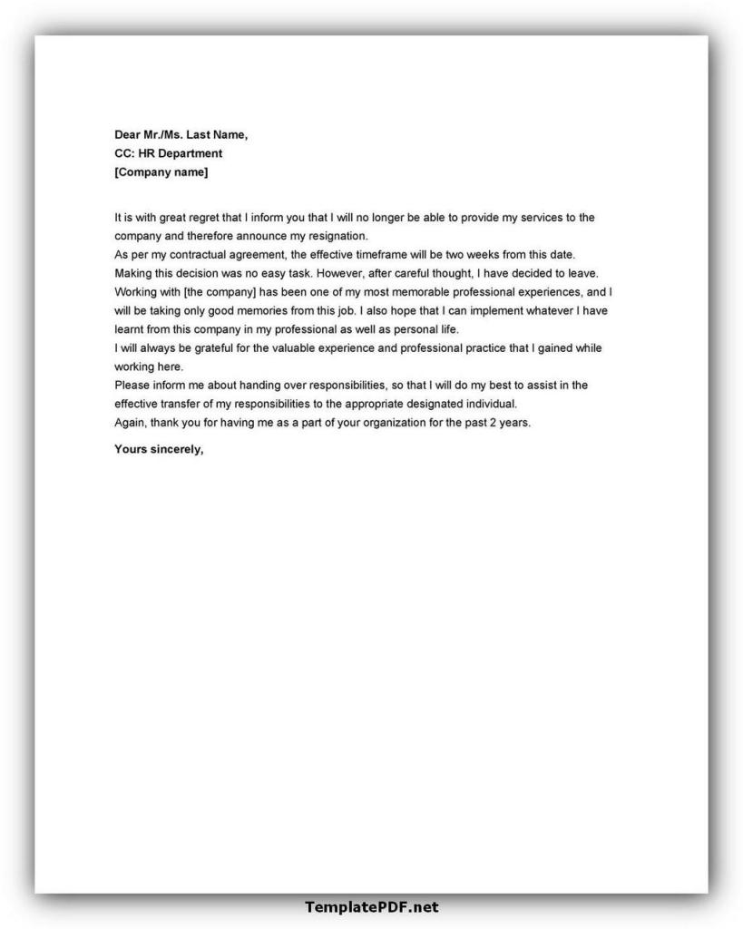 Two weeks notice Template 20