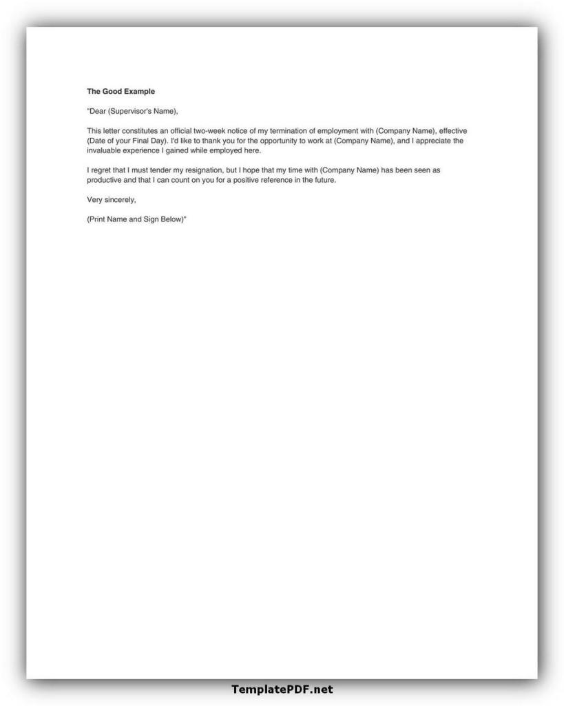 Two weeks notice Template 21