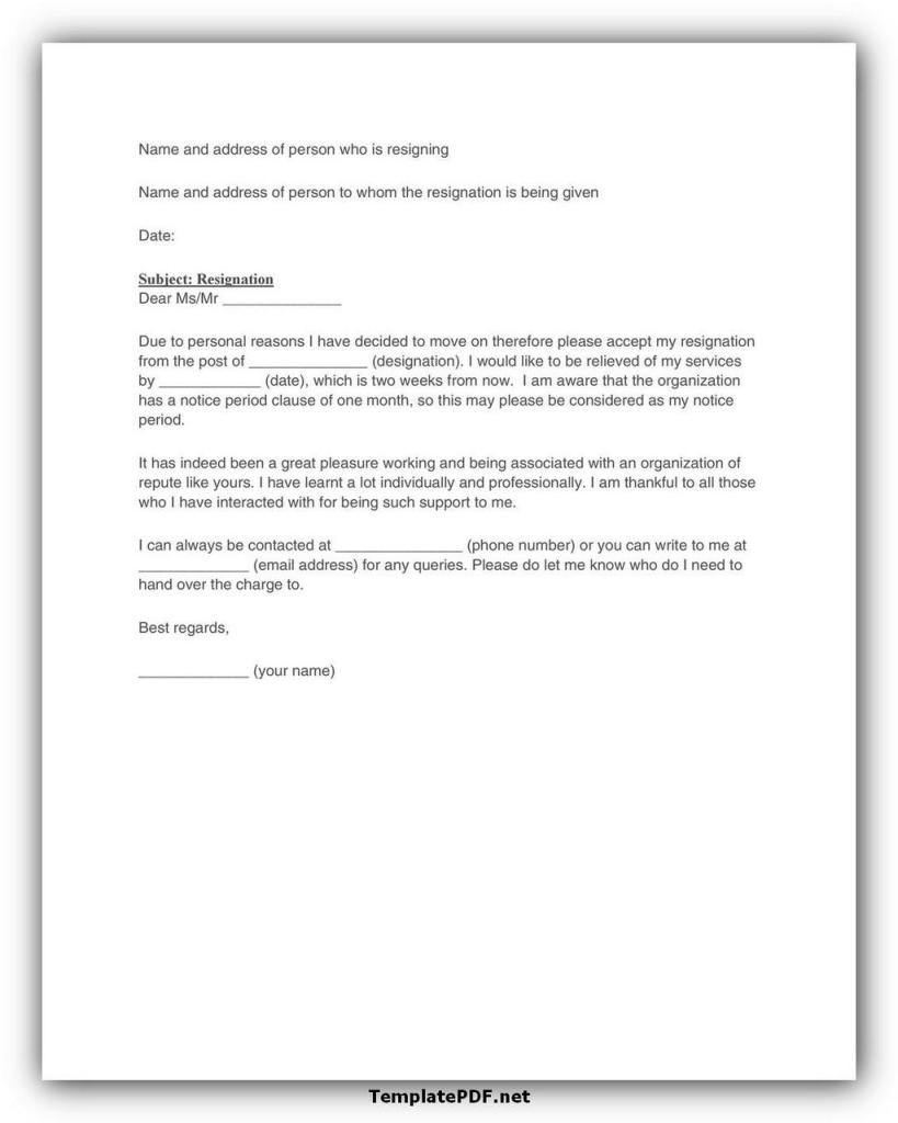 Two weeks notice Template 25
