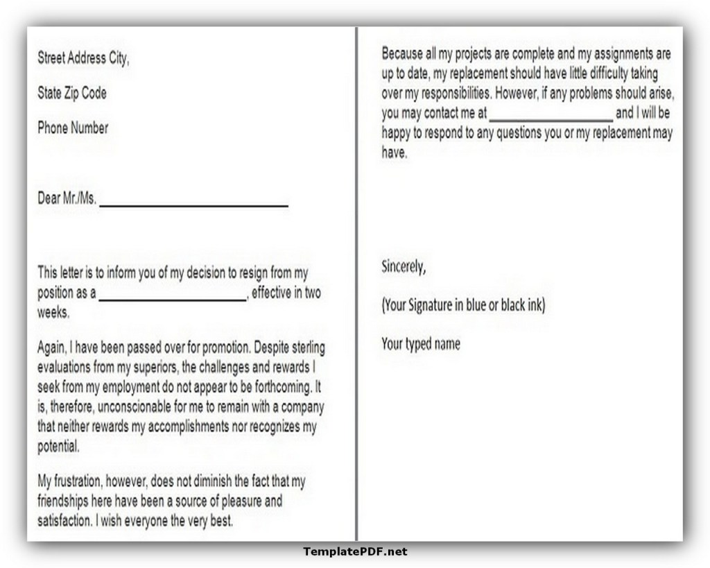 Two weeks notice Template 28