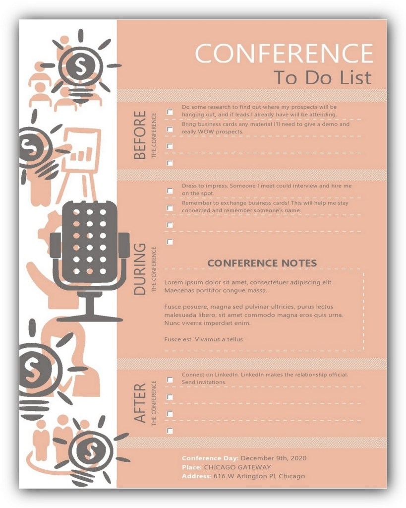 Conference To Do List Template