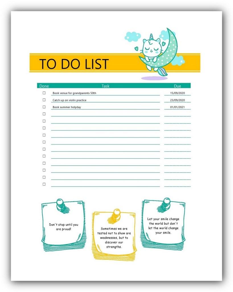 Cute To Do List Template