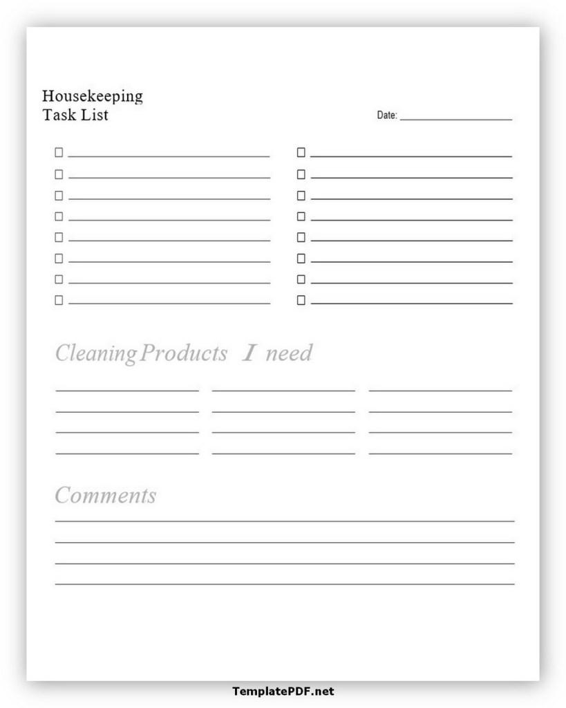 Housekeeping Task List