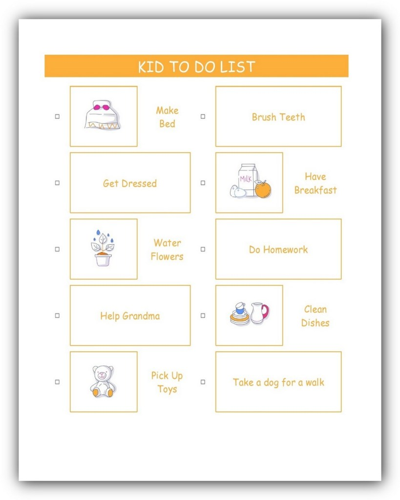 Kid To Do List Template