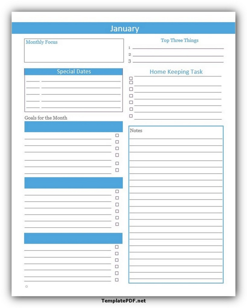 Monthly Task List Template Download Free