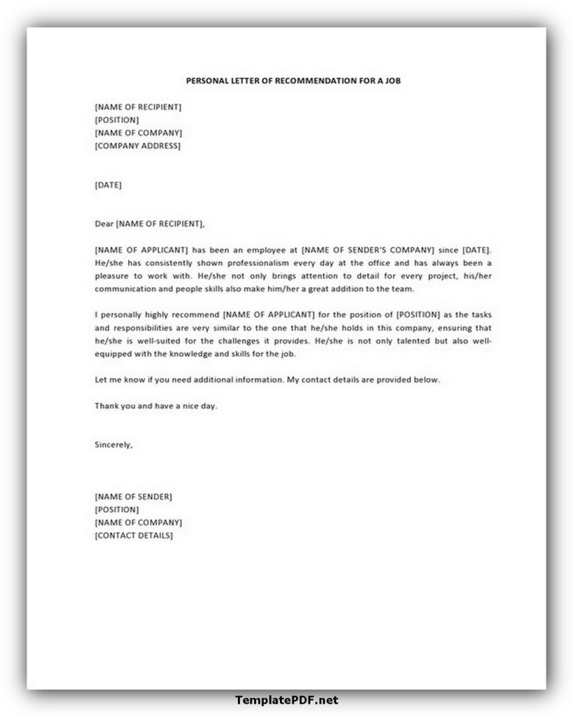 Personal Letter Template Free