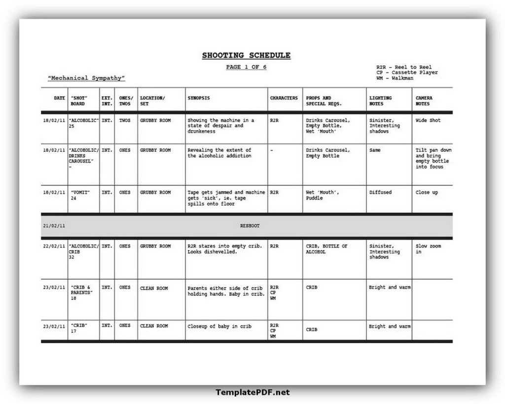 Shooting Schedule Template Free