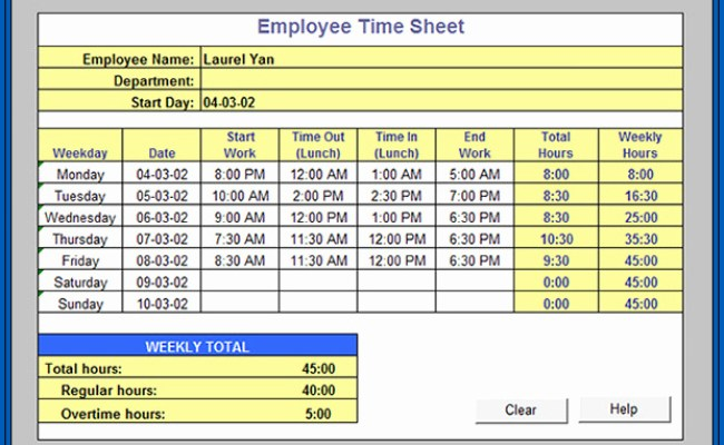 Free Excel Timesheet Formula With Lunch Break Templateral Dokter Andalan