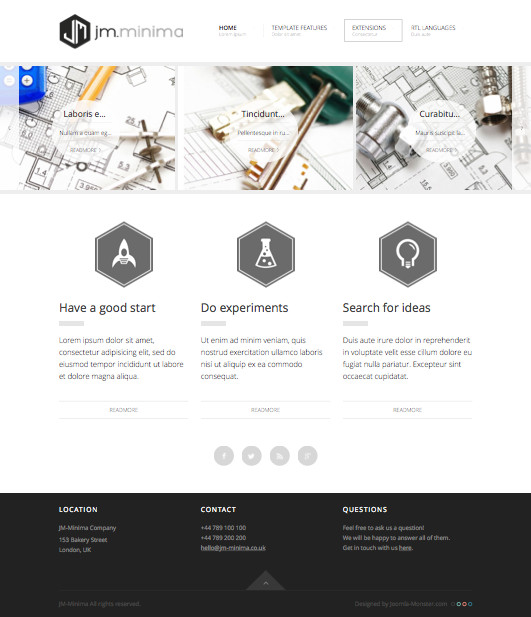 JM Minima Joomla J3.x Template for Presentation of