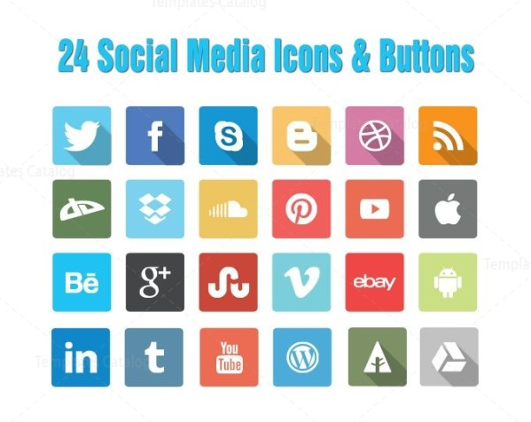 24 Social Media Icons Buttons