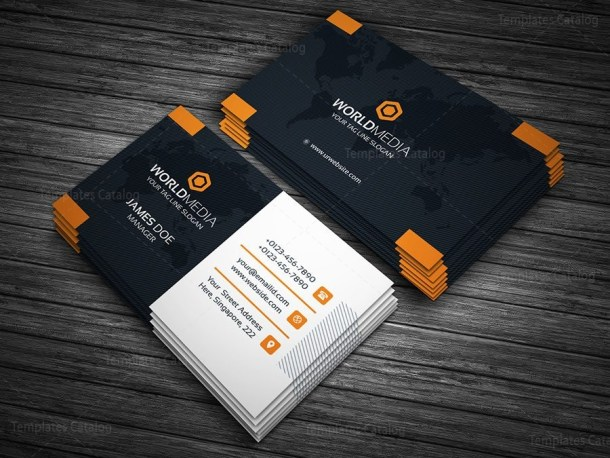 Business Card Template with World Map