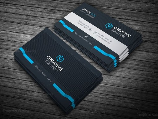 Dark Stylish Business Card Template Blue