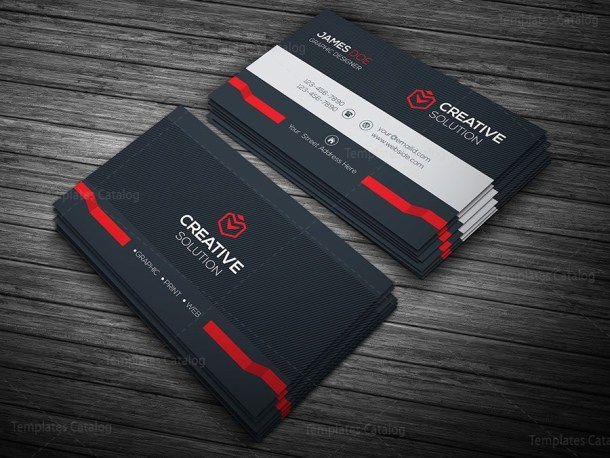 Dark Stylish Business Card Template Red