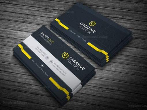 Dark Stylish Business Card Template Yellow