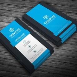 Vertical Business Card Template Blue