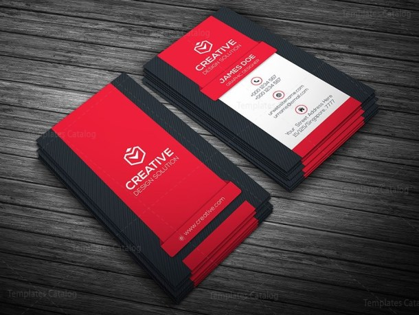 Vertical Business Card Template Red