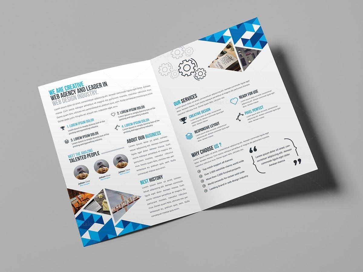 blue diamond bi-fold brochure template 000721