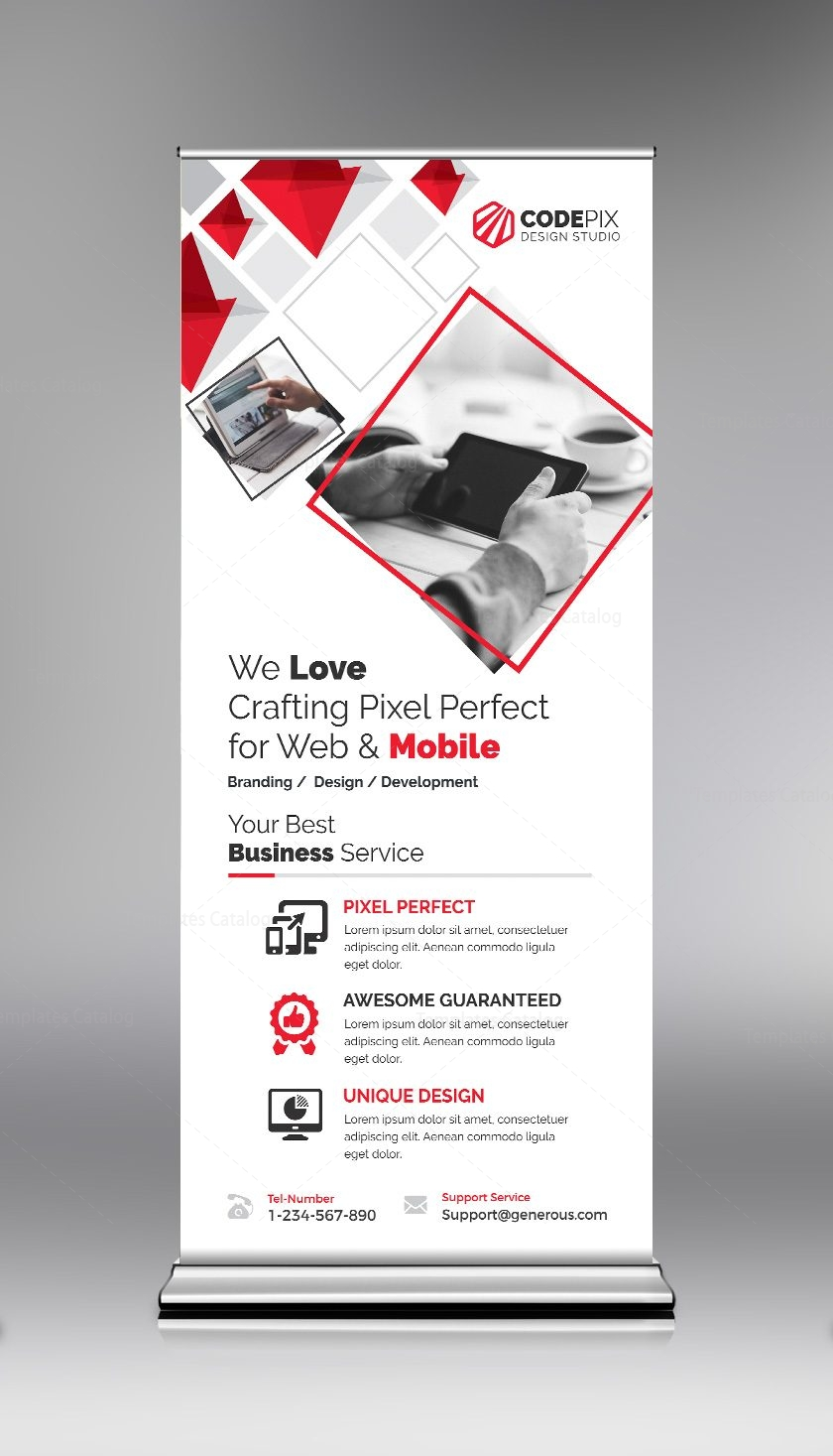 red roll-up banner design template 000692