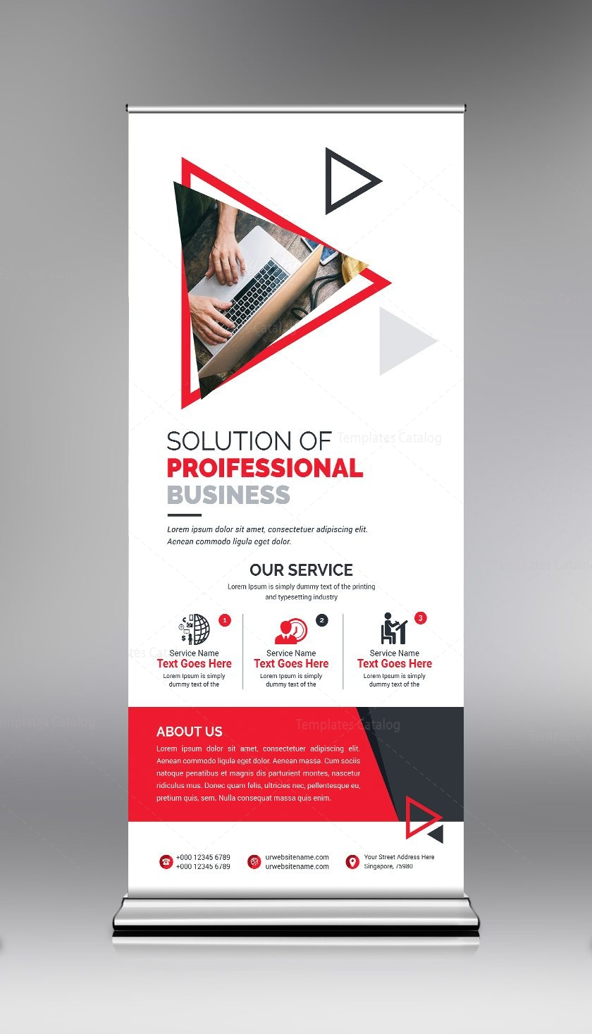 roll up banner template with clean design 000684