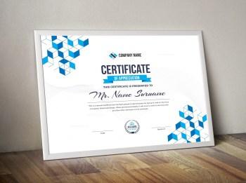 Cubes Landscape Certificate Template
