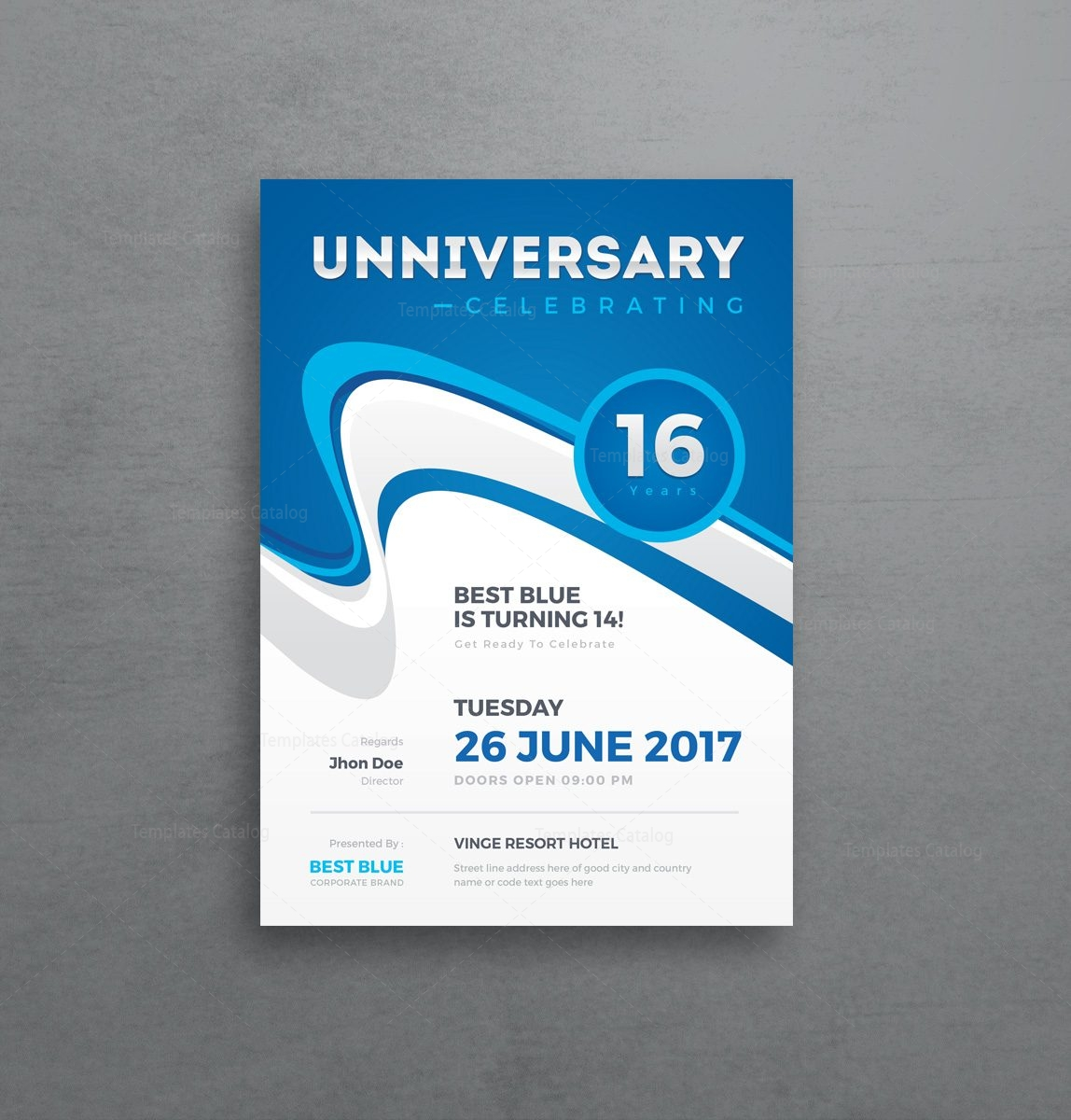 Stylish Anniversary Invitation Template 000958 Template