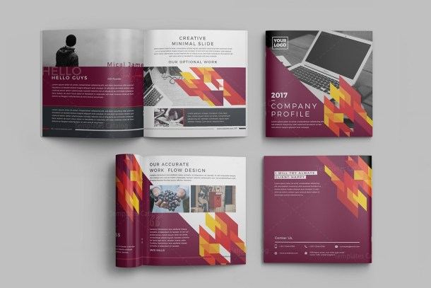 16 Pages Stylish Professional Square Magazine Template