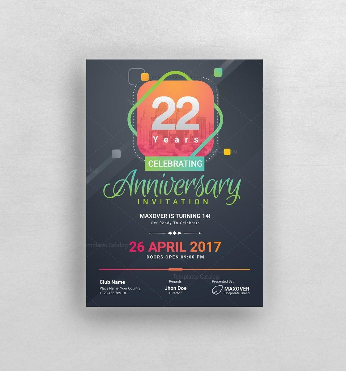 Ares Elegant Anniversary Invitation Template 001127 Template Catalog