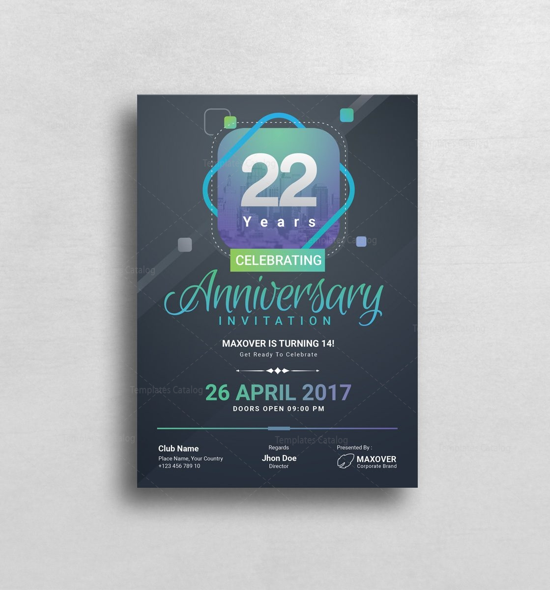 Ares Elegant Anniversary Invitation Template 001127