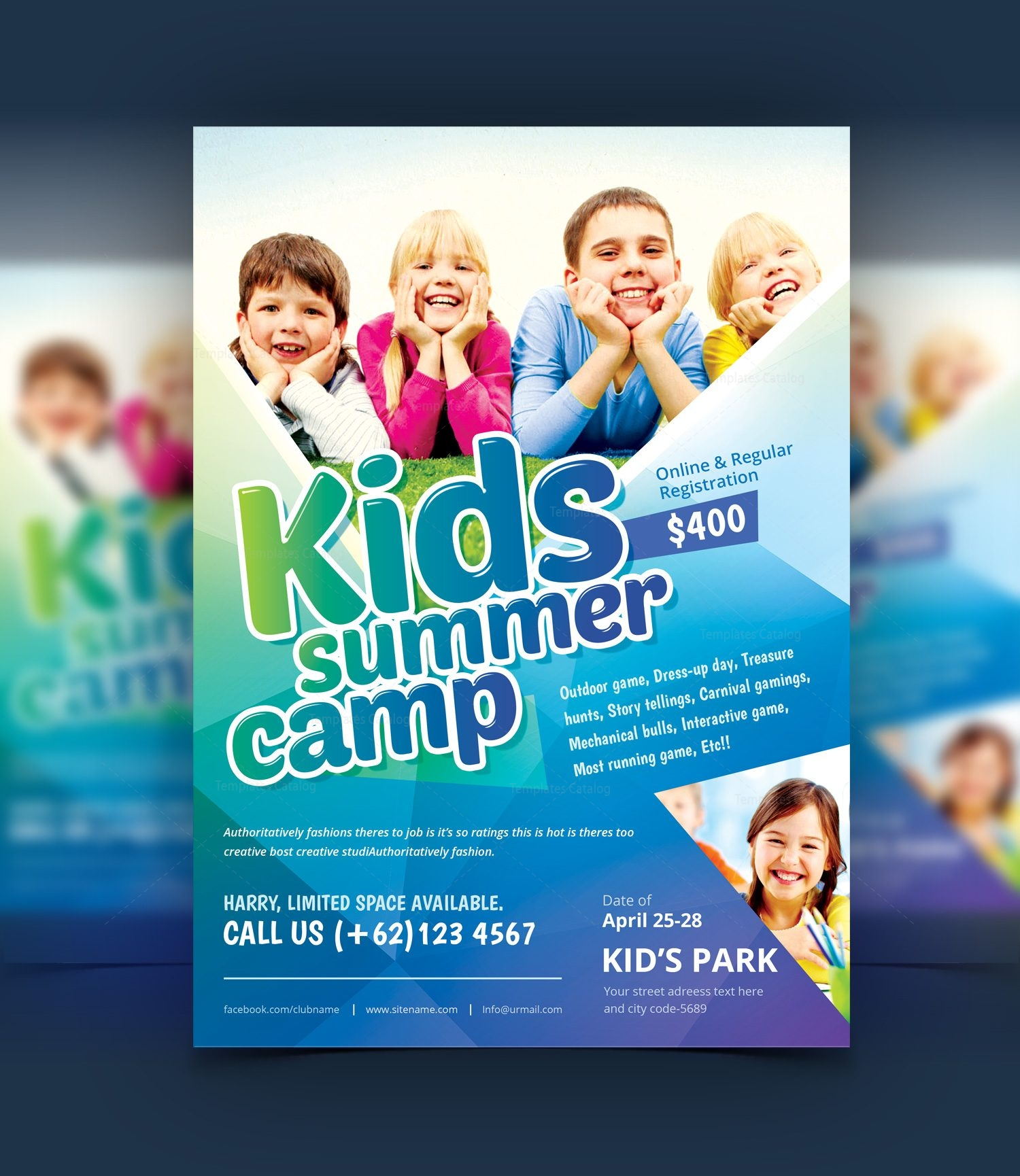 stylish kids camp party flyer template 001077