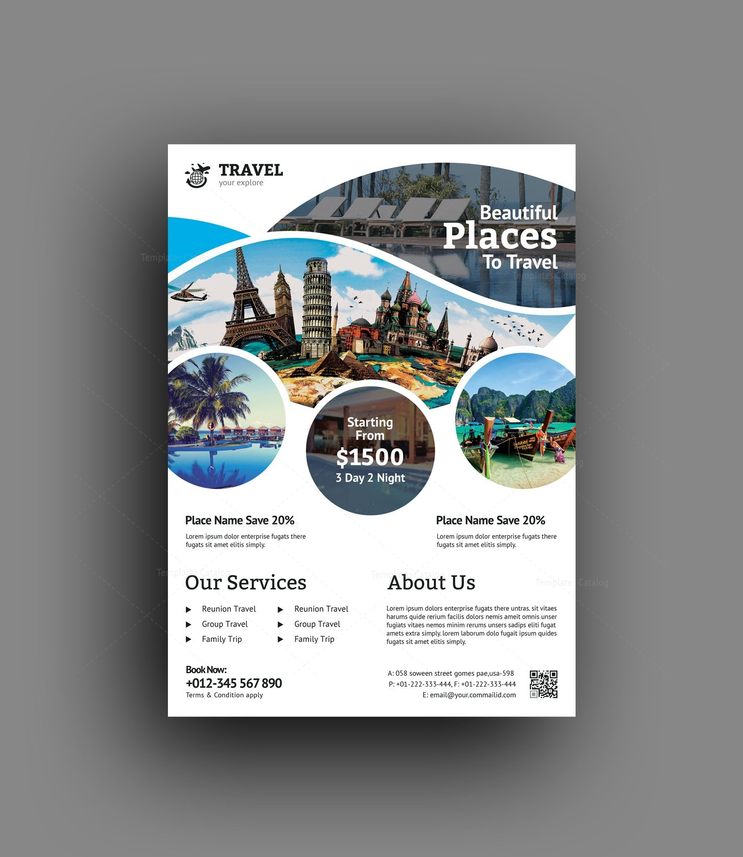 travel agency flyer template 001471