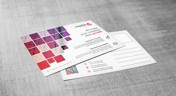 Creative Corporate Postcard Template with Square Shapes