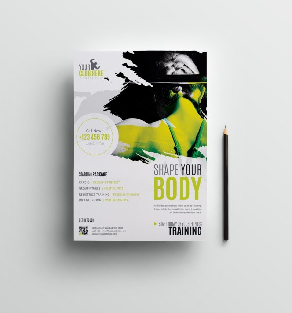 Fitness Club Professional Flyer Design Template