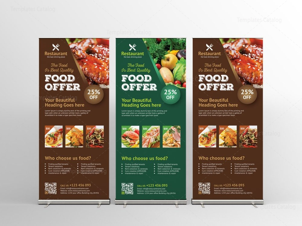 Luxury Restaurant Roll-Up Banner Design Template