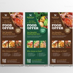 Luxury Restaurant Roll-Up Banner Design Template