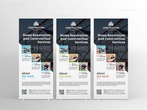 Modern Construction Roll-Up Banner Template