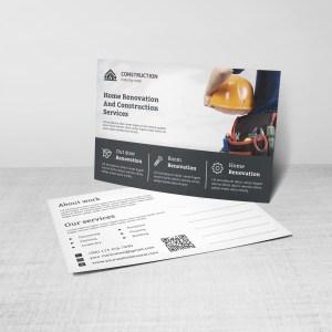 Renovation Construction Postcard Design Template