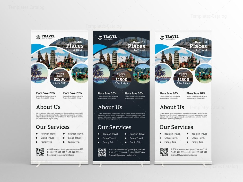 Travel Agency Roll Up Banner Design Template 001575 Template