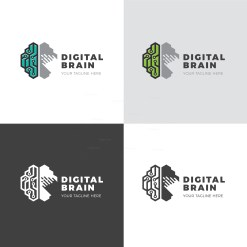 Digital Brain Creative Logo Design Template