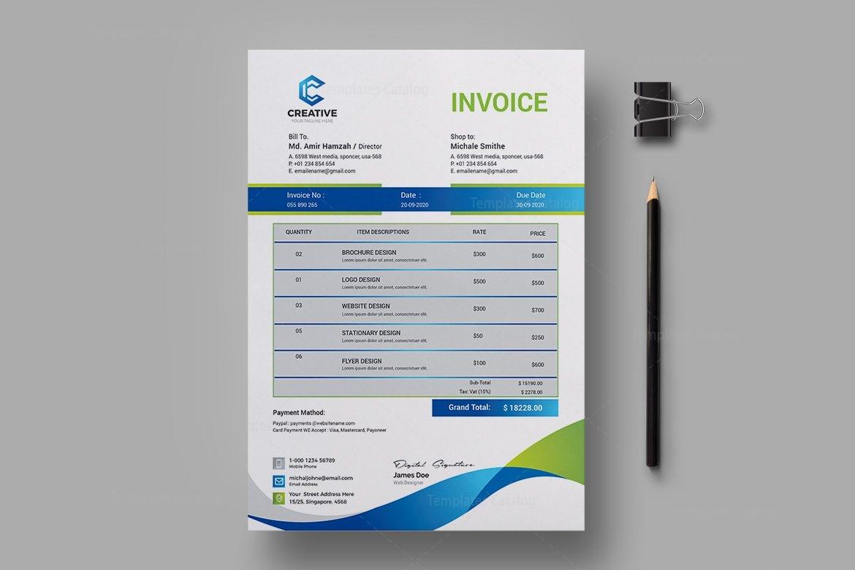 elegant creative invoice design template 001957 template. Black Bedroom Furniture Sets. Home Design Ideas