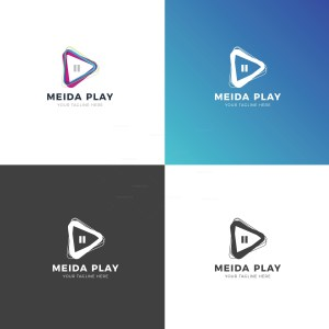 Media Player Professional Logo Design Template