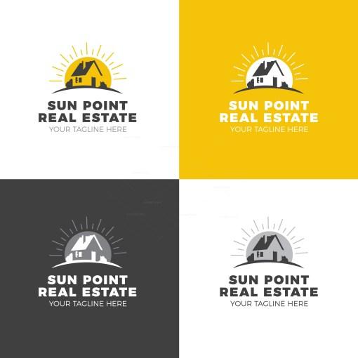 Sun Real Estate Creative Logo Design Template