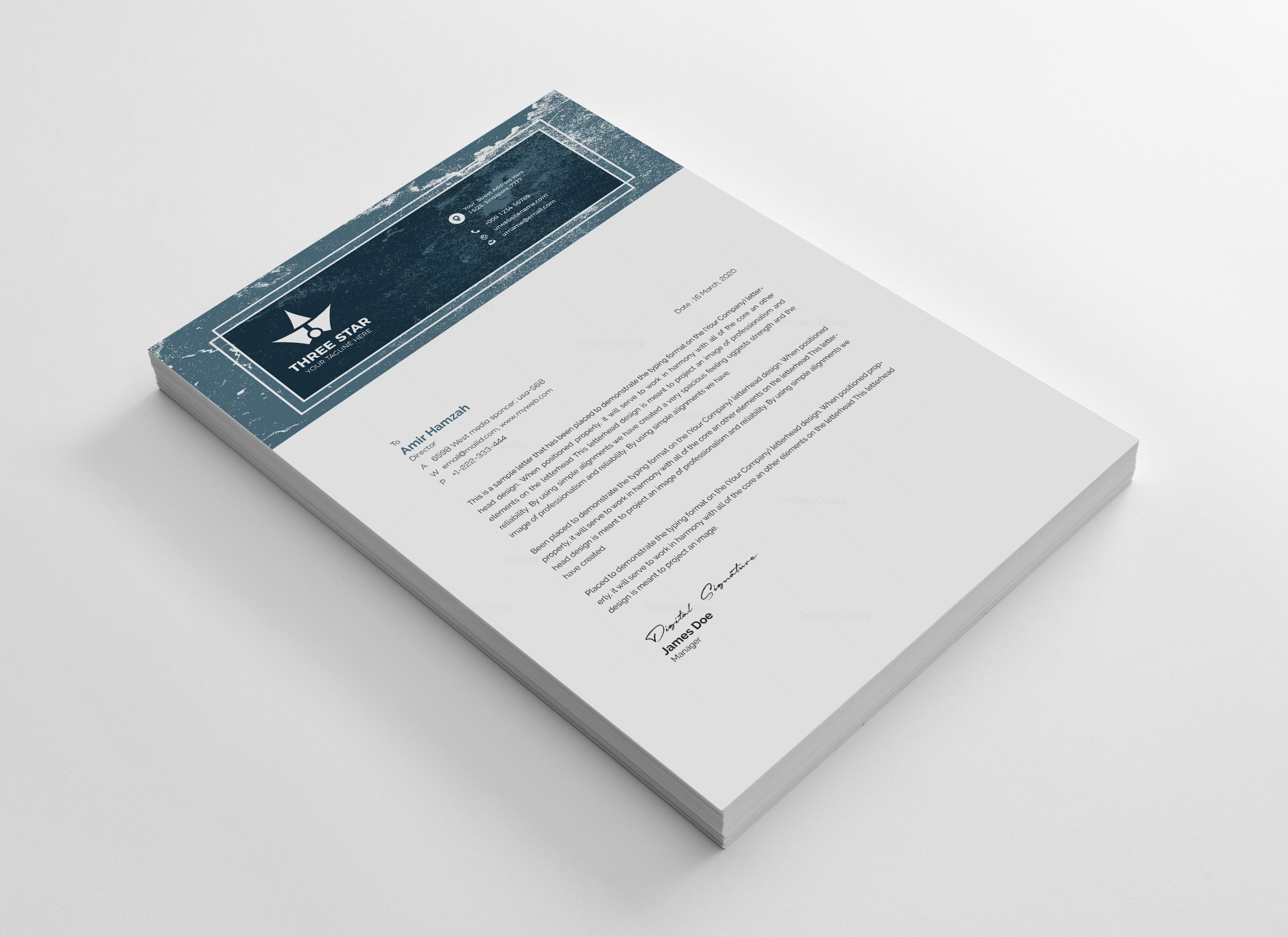 Three Star Professional Corporate Letterhead Template