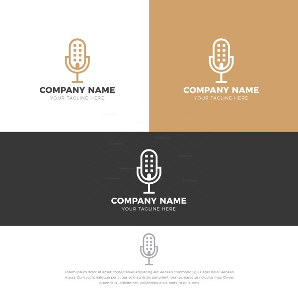 Microphone Stylish Logo Design Template
