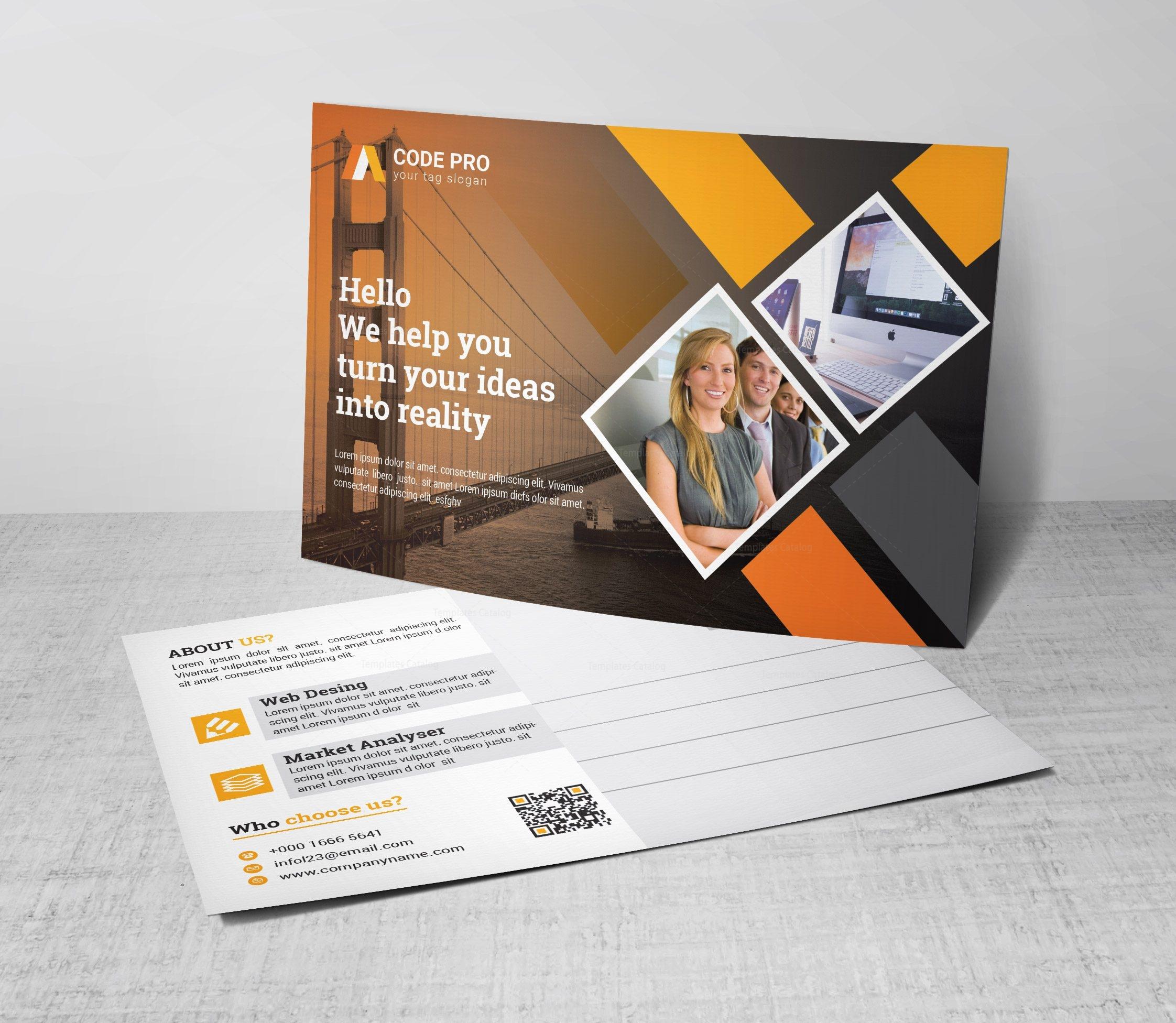 Advertising Corporate Postcard Template