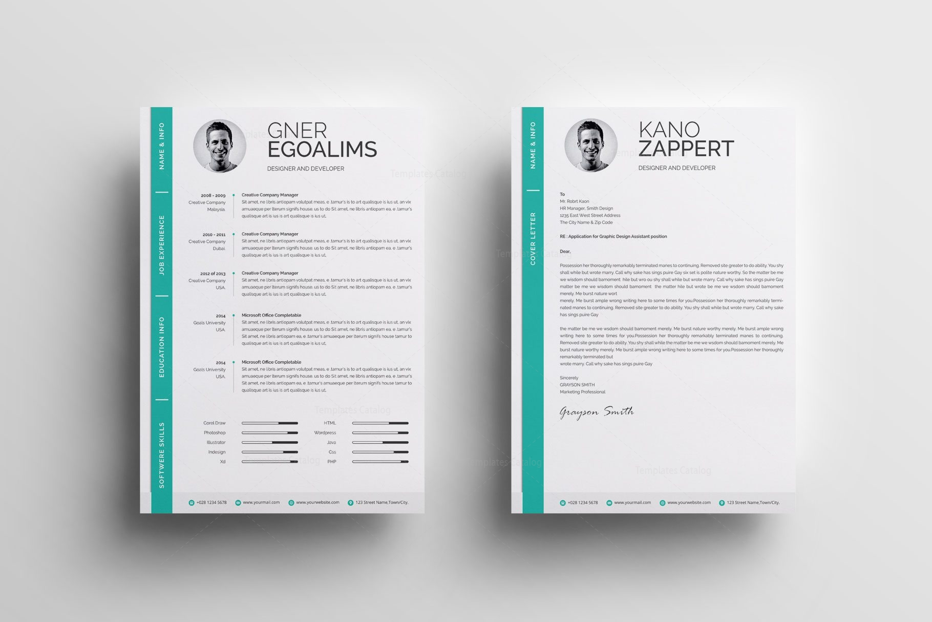 Green and White Resume
